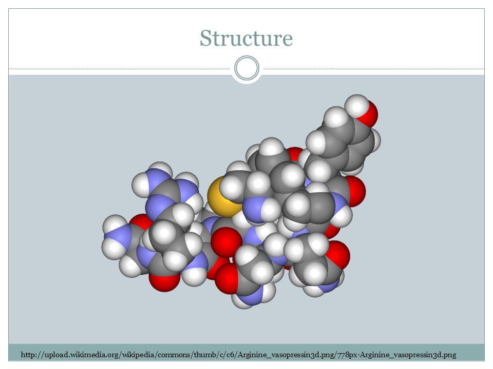 Structure http://upload.wikimedia.org/wikipedia/commons/thumb/c/c6/Arginine_vasopressin3d.png/778px-Arginine_vasopressin3d.png