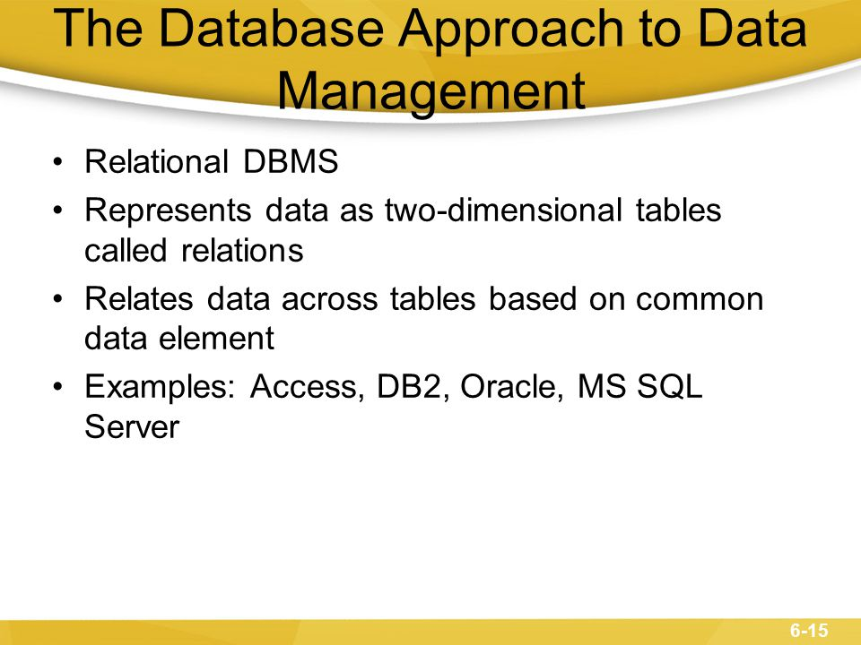 6-16 The Database Approach to Data Management