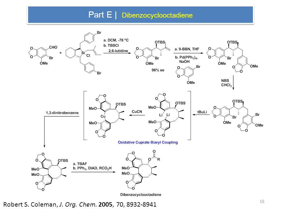 Part E | Dibenzocyclooctadiene Robert S. Coleman, J. Org. Chem. 2005, 70,