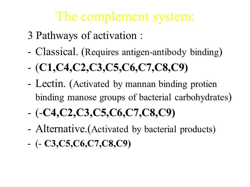 The Complement system – Consist of a group of serum proteins circulate in inactive form once they become activated they produce important biological e