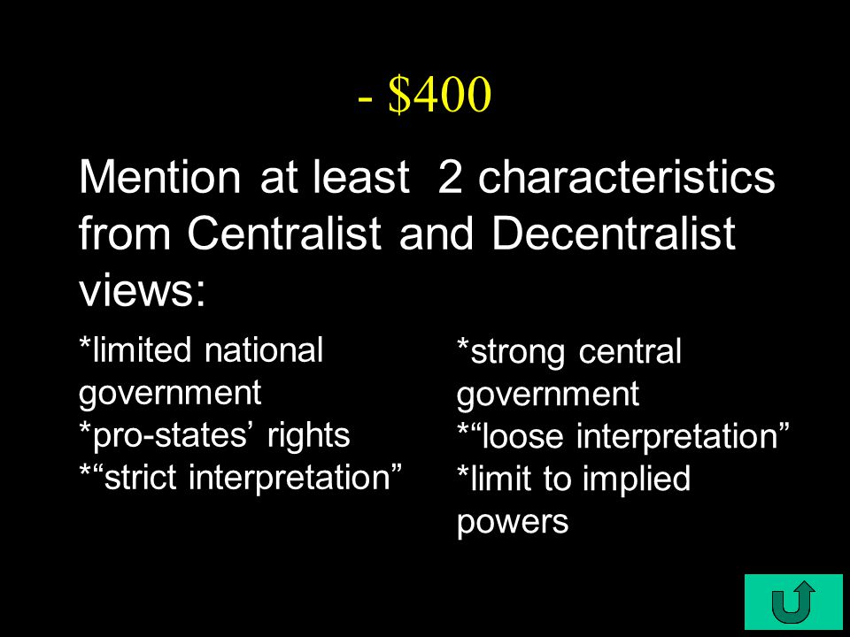 """C6-$400 - $400 Mention at least 2 characteristics from Centralist and Decentralist views: *limited national government *pro-states' rights *""""strict in"""