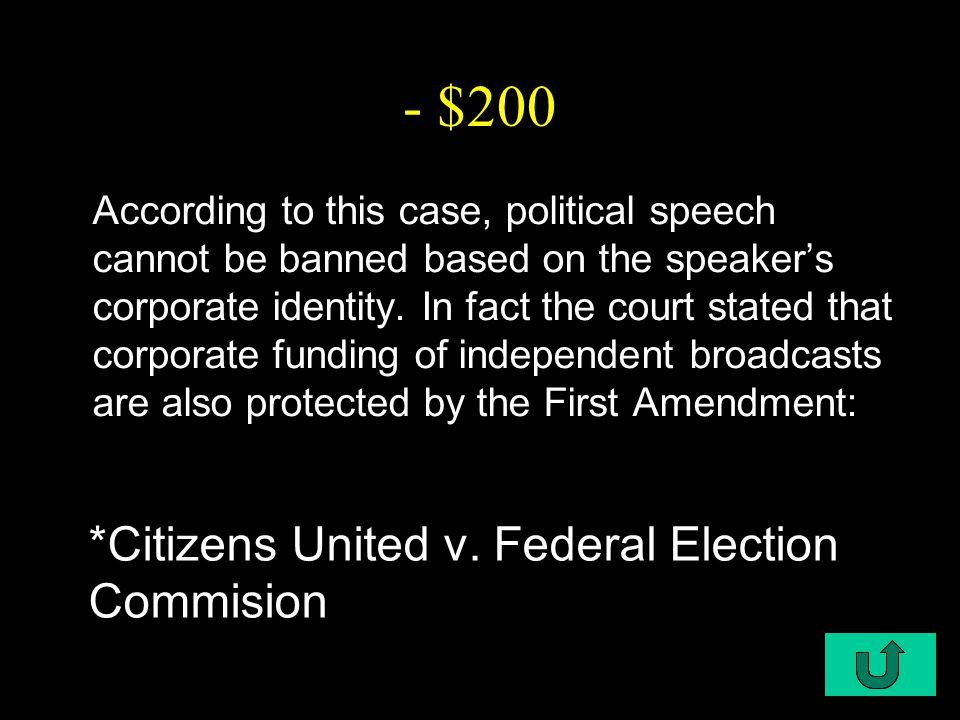 C1-$300 - $300 This case determined that legislative apportionment was a justiciable issue, or a matter that can be argued and decided in the court of law since it pertains to possible constitutional violations: *Baker v.
