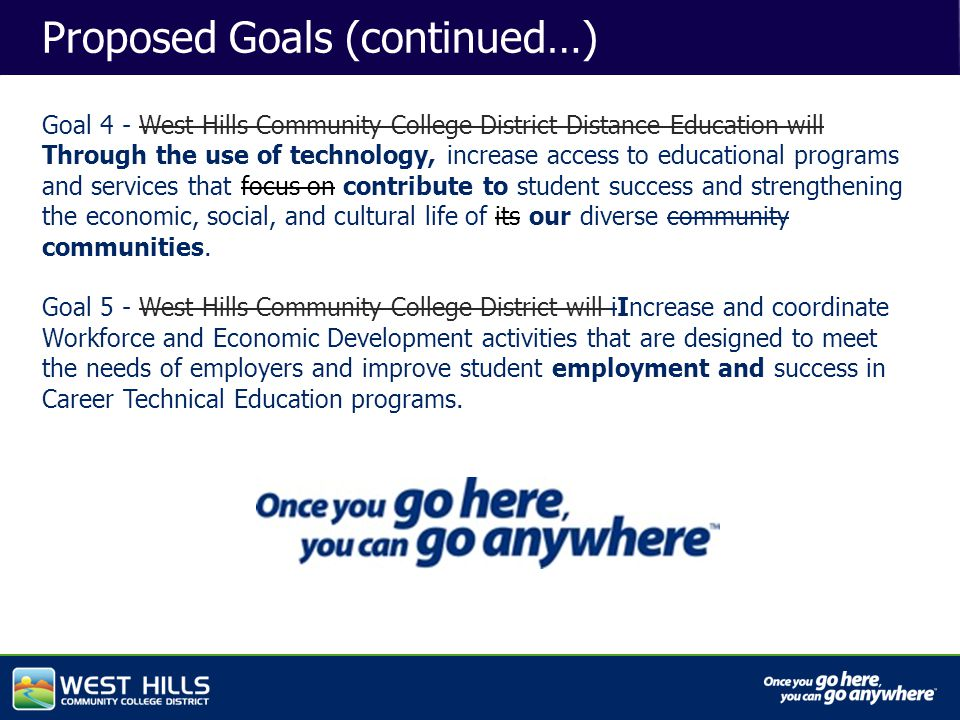 Capital Investments Proposed Goals (continued…) Goal 4 - West Hills Community College District Distance Education will Through the use of technology, increase access to educational programs and services that focus on contribute to student success and strengthening the economic, social, and cultural life of its our diverse community communities.