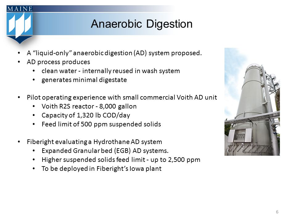 """Anaerobic Digestion A """"liquid-only"""" anaerobic digestion (AD) system proposed. AD process produces clean water - internally reused in wash system gener"""