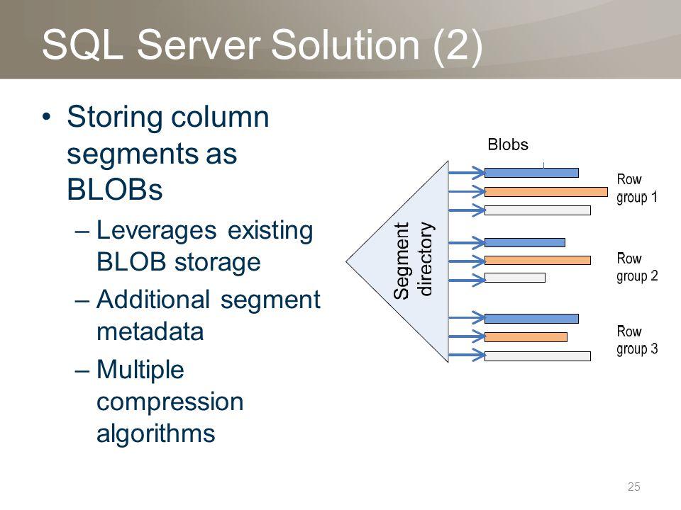 SQL Server Solution (2) Storing column segments as BLOBs –Leverages existing BLOB storage –Additional segment metadata –Multiple compression algorithm