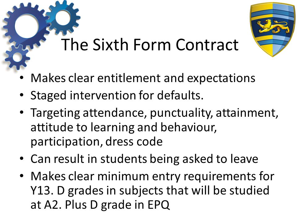 The Sixth Form Contract Makes clear entitlement and expectations Staged intervention for defaults.