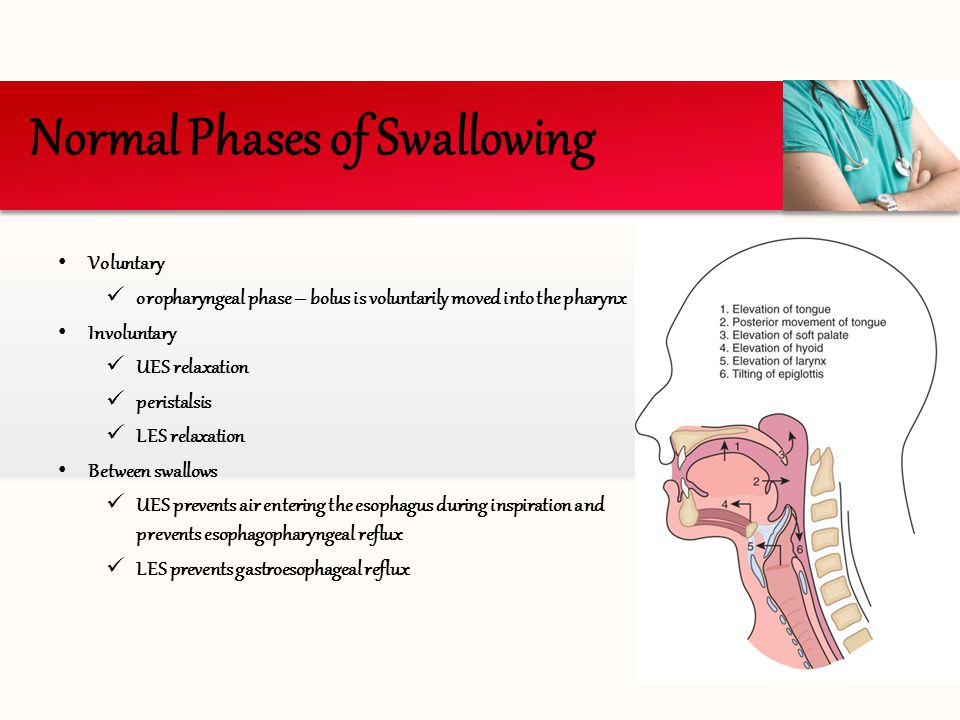 Voluntary oropharyngeal phase – bolus is voluntarily moved into the pharynx Involuntary UES relaxation peristalsis LES relaxation Between swallows UES