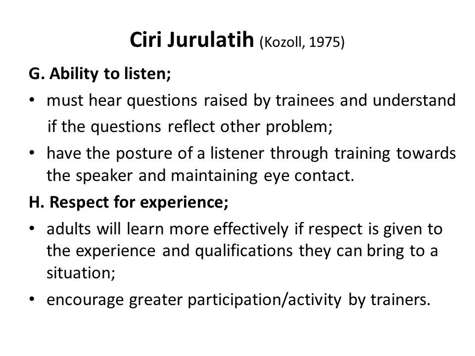Ciri Jurulatih (Kozoll, 1975) G.