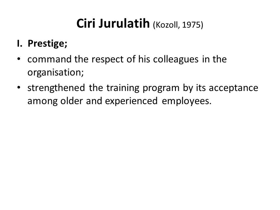Ciri Jurulatih (Kozoll, 1975) I.