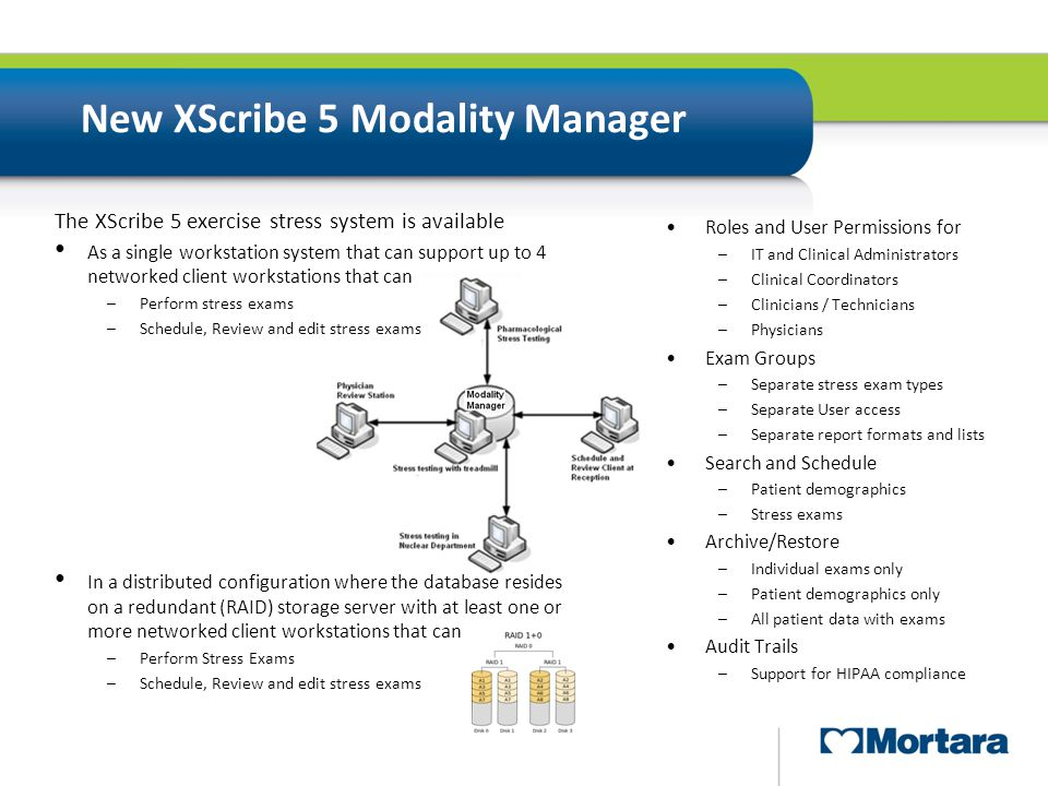 New XScribe 5 Modality Manager Roles and User Permissions for –IT and Clinical Administrators –Clinical Coordinators –Clinicians / Technicians –Physic