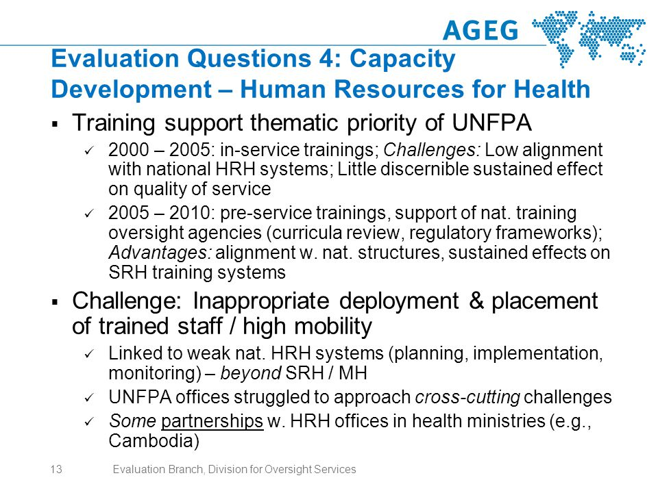 Evaluation Questions 4: Capacity Development – Human Resources for Health  Training support thematic priority of UNFPA 2000 – 2005: in-service trainings; Challenges: Low alignment with national HRH systems; Little discernible sustained effect on quality of service 2005 – 2010: pre-service trainings, support of nat.