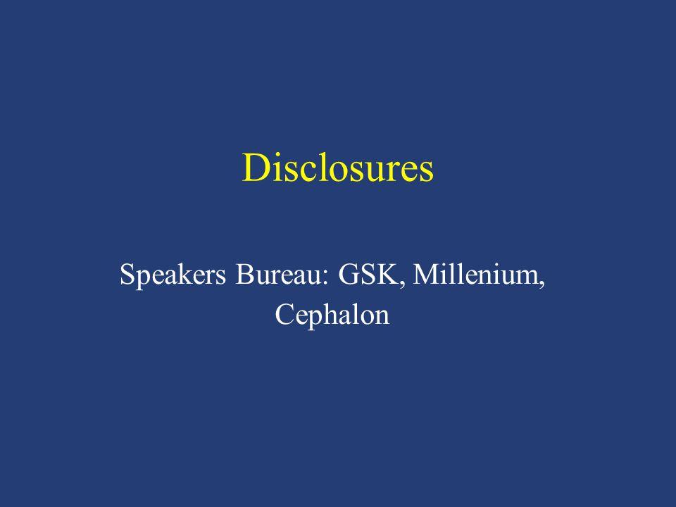 Disclosures Speakers Bureau: GSK, Millenium, Cephalon