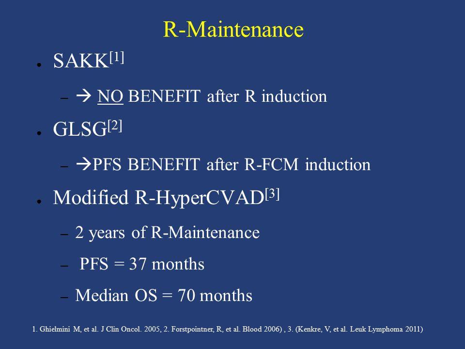 R-Maintenance ● SAKK [1] –  NO BENEFIT after R induction ● GLSG [2] –  PFS BENEFIT after R-FCM induction ● Modified R-HyperCVAD [3] – 2 years of R-M