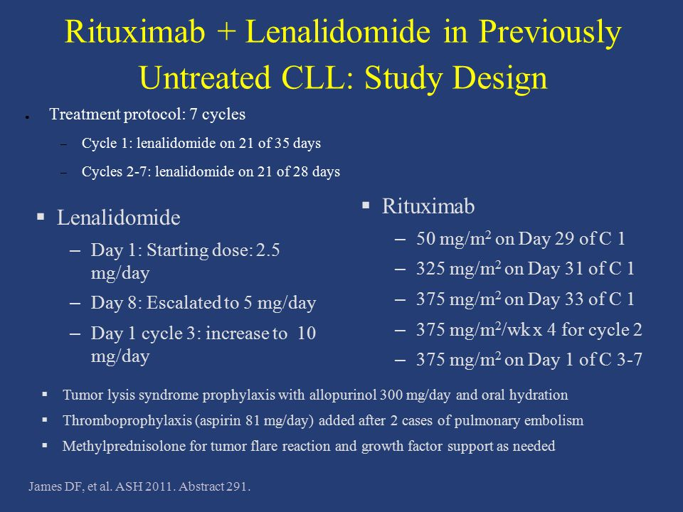 Rituximab + Lenalidomide in Previously Untreated CLL: Study Design ● Treatment protocol: 7 cycles – Cycle 1: lenalidomide on 21 of 35 days – Cycles 2-