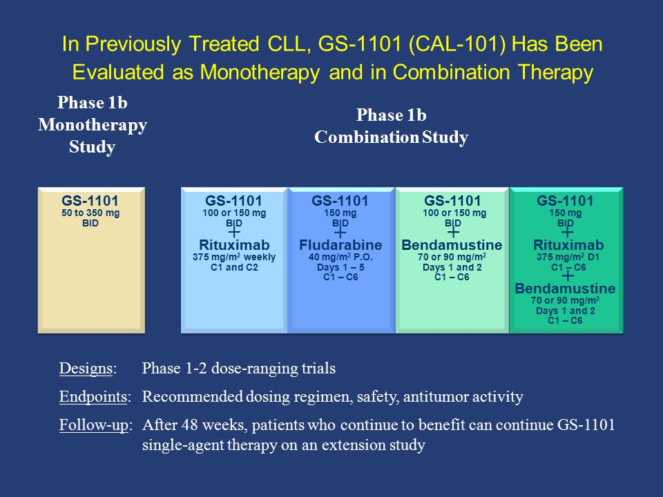 In Previously Treated CLL, GS-1101 (CAL-101) Has Been Evaluated as Monotherapy and in Combination Therapy Phase 1b Combination Study Phase 1b Monother