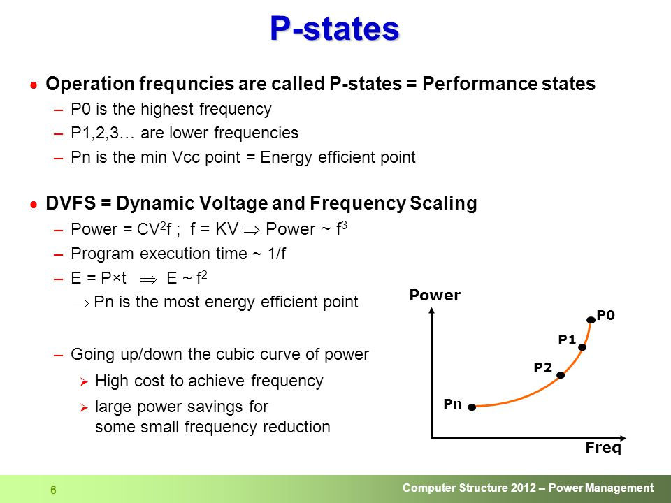 Computer Structure 2012 – Power Management 6 P-states  Operation frequncies are called P-states = Performance states –P0 is the highest frequency –P1