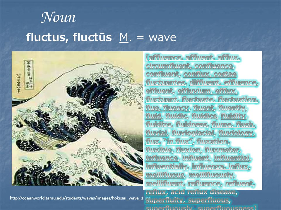 http://oceanworld.tamu.edu/students/waves/images/hokusai_wave_1.jpg Noun fluctus, fluctūs M. = wave
