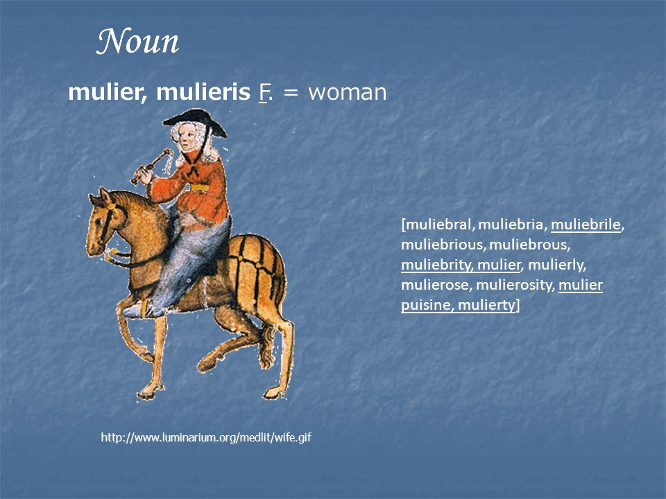 [muliebral, muliebria, muliebrile, muliebrious, muliebrous, muliebrity, mulier, mulierly, mulierose, mulierosity, mulier puisine, mulierty] http://www.luminarium.org/medlit/wife.gif Noun mulier, mulieris F.