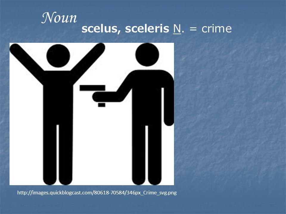http://images.quickblogcast.com/80618-70584/346px_Crime_svg.png Noun scelus, sceleris N. = crime