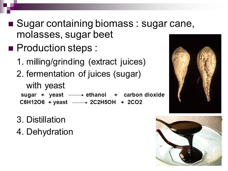 Sugar containing biomass : sugar cane, molasses, sugar beet Production steps : 1.