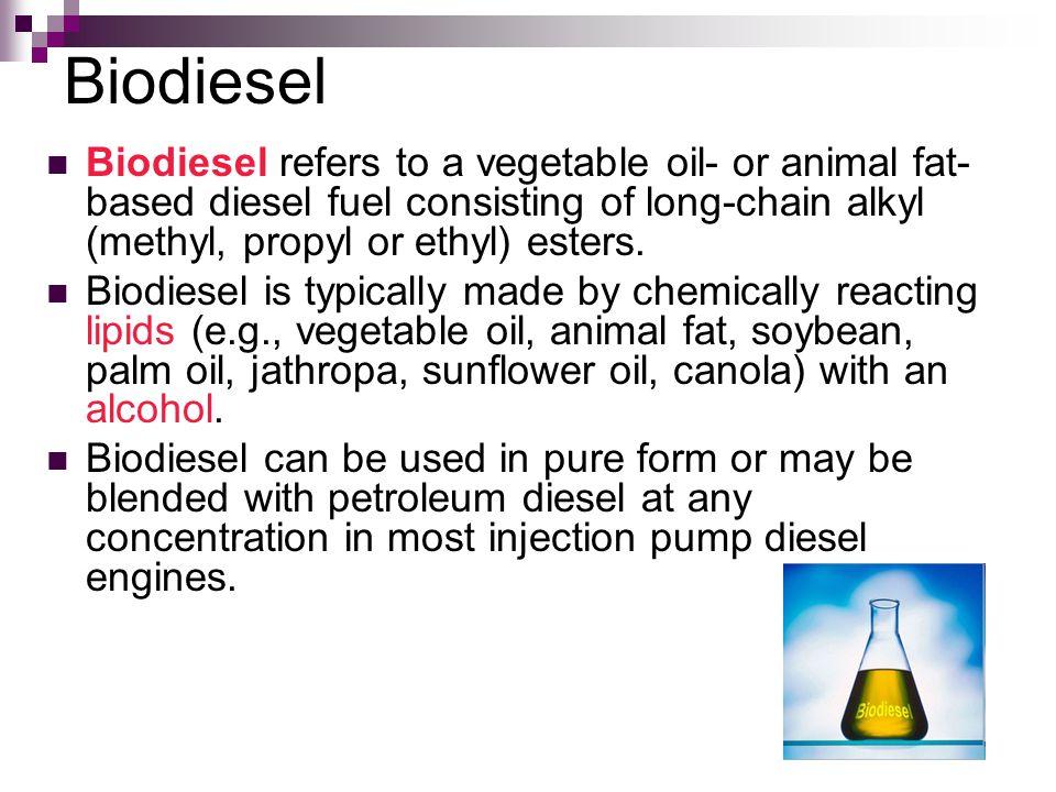 Biodiesel Biodiesel refers to a vegetable oil- or animal fat- based diesel fuel consisting of long-chain alkyl (methyl, propyl or ethyl) esters. Biodi