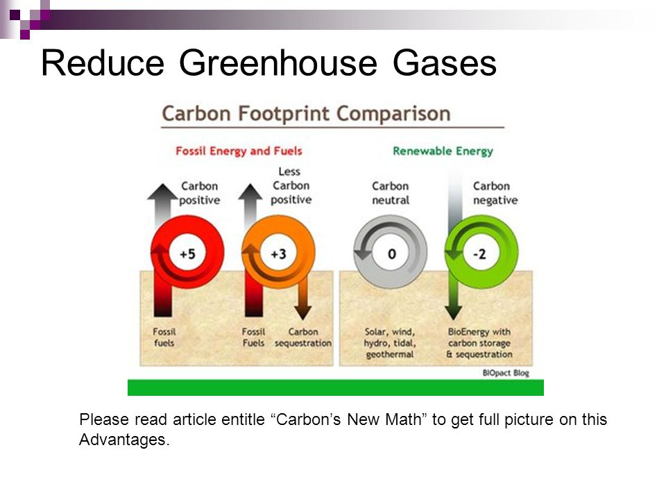 Reduce Greenhouse Gases Please read article entitle Carbon's New Math to get full picture on this Advantages.