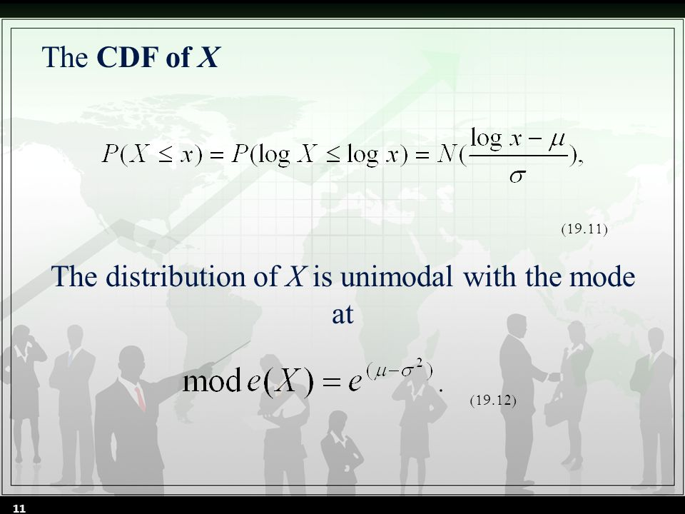 The CDF of X The distribution of X is unimodal with the mode at (19.11) (19.12) 11