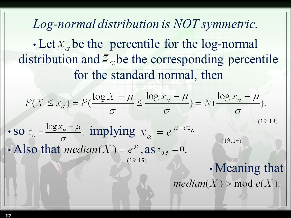Log-normal distribution is NOT symmetric.