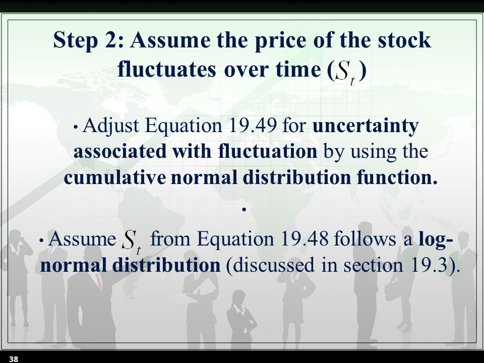 Step 2: Assume the price of the stock fluctuates over time ( ) Adjust Equation 19.49 for uncertainty associated with fluctuation by using the cumulative normal distribution function.