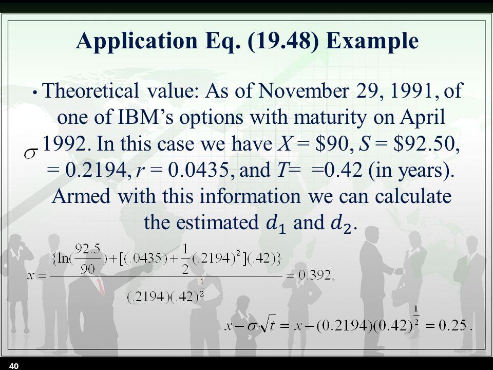 Application Eq. (19.48) Example 40