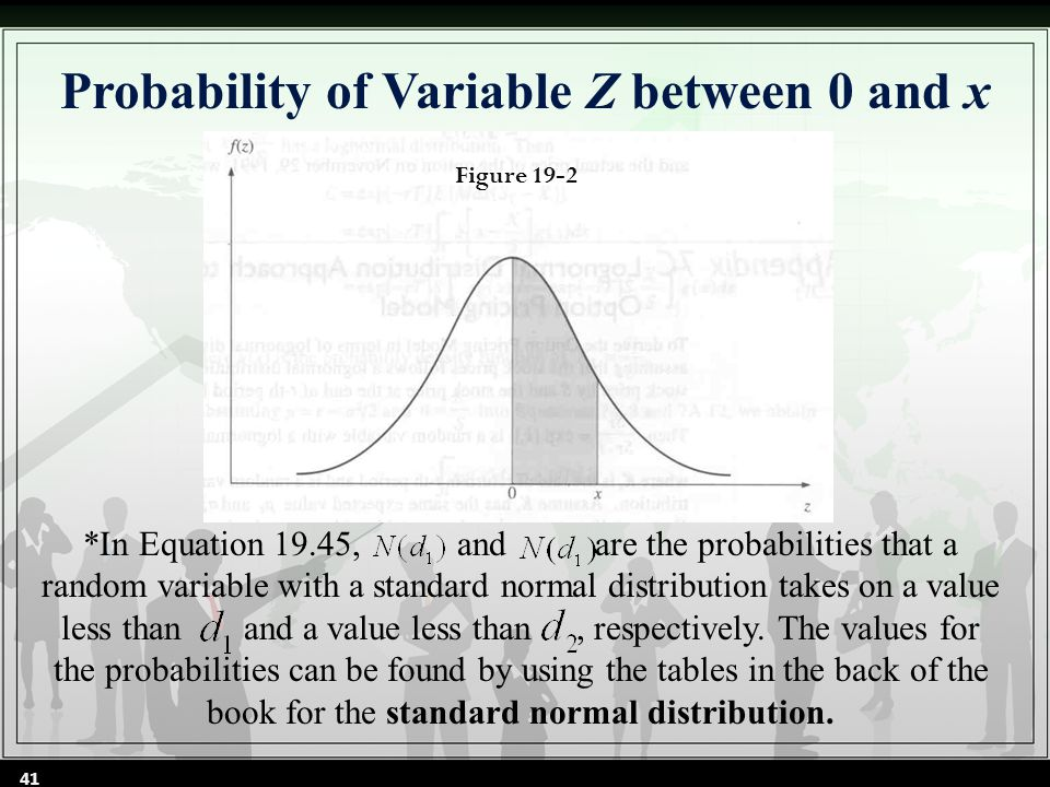 Probability of Variable Z between 0 and x Figure 19-2 *In Equation 19.45, and are the probabilities that a random variable with a standard normal distribution takes on a value less than and a value less than, respectively.