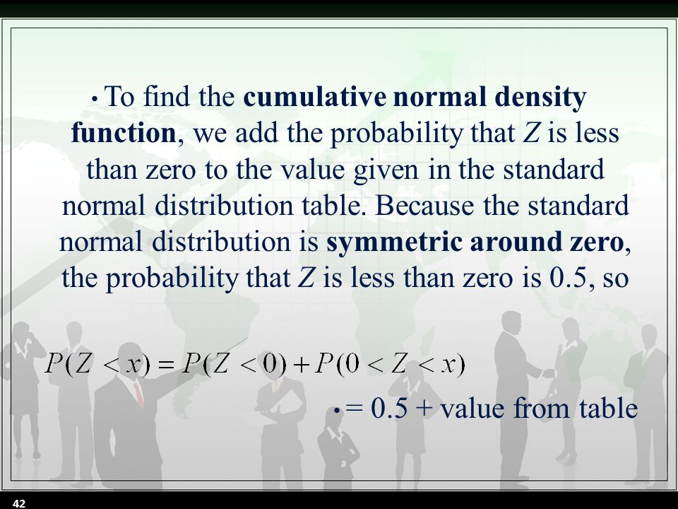 To find the cumulative normal density function, we add the probability that Z is less than zero to the value given in the standard normal distribution table.