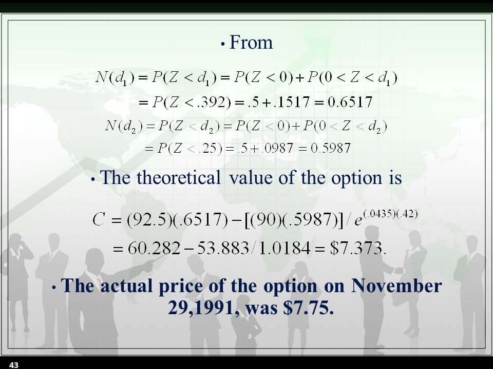 From The theoretical value of the option is The actual price of the option on November 29,1991, was $7.75.