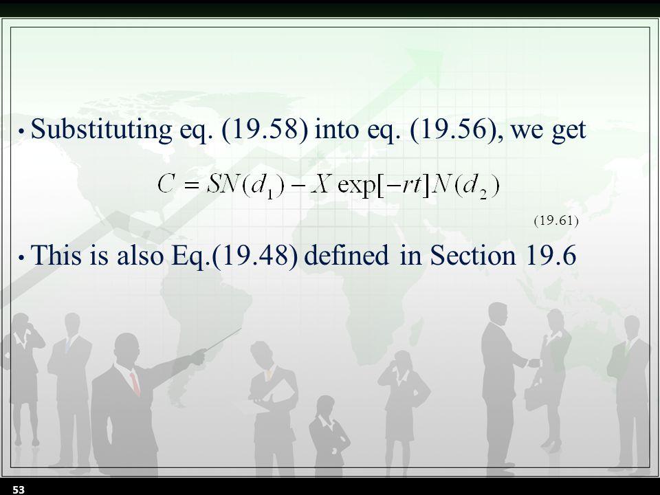 Substituting eq. (19.58) into eq.