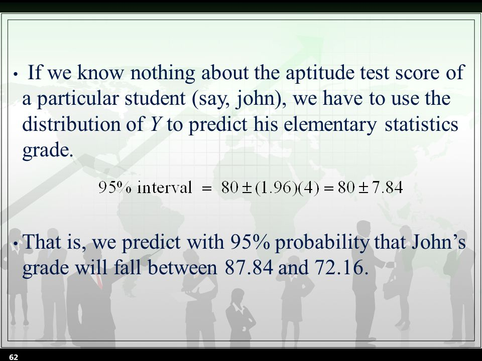 If we know nothing about the aptitude test score of a particular student (say, john), we have to use the distribution of Y to predict his elementary statistics grade.
