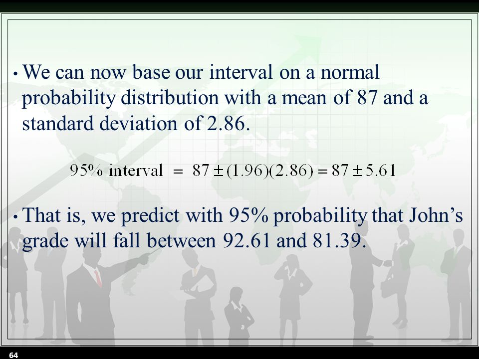 We can now base our interval on a normal probability distribution with a mean of 87 and a standard deviation of 2.86.
