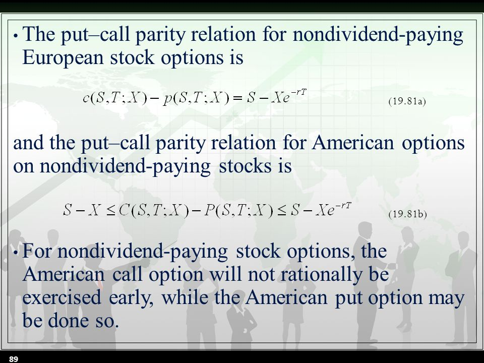 The put–call parity relation for nondividend-paying European stock options is and the put–call parity relation for American options on nondividend-paying stocks is For nondividend-paying stock options, the American call option will not rationally be exercised early, while the American put option may be done so.