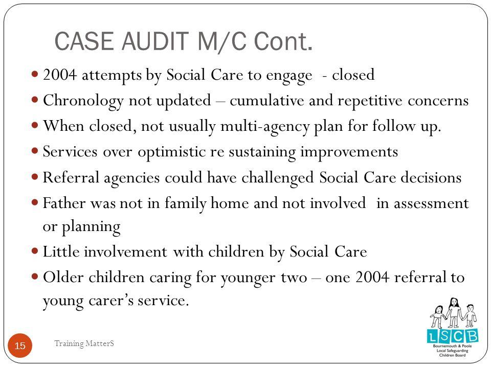 CASE AUDIT M/C Cont.