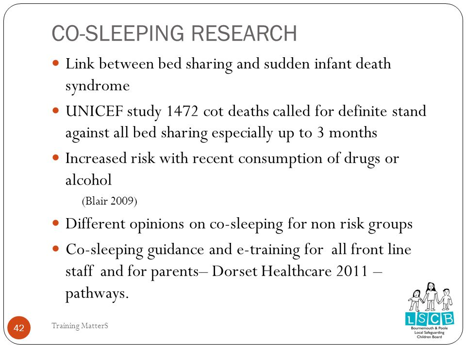 CO-SLEEPING RESEARCH 42 Link between bed sharing and sudden infant death syndrome UNICEF study 1472 cot deaths called for definite stand against all bed sharing especially up to 3 months Increased risk with recent consumption of drugs or alcohol (Blair 2009) Different opinions on co-sleeping for non risk groups Co-sleeping guidance and e-training for all front line staff and for parents– Dorset Healthcare 2011 – pathways.