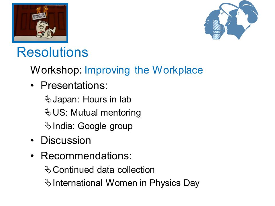 Workshop: Improving the Workplace Presentations:  Japan: Hours in lab  US: Mutual mentoring  India: Google group Discussion Recommendations:  Continued data collection  International Women in Physics Day Resolutions