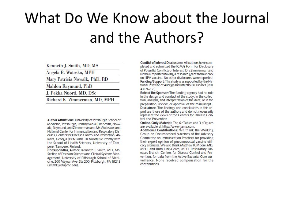 What Do We Know about the Journal and the Authors?