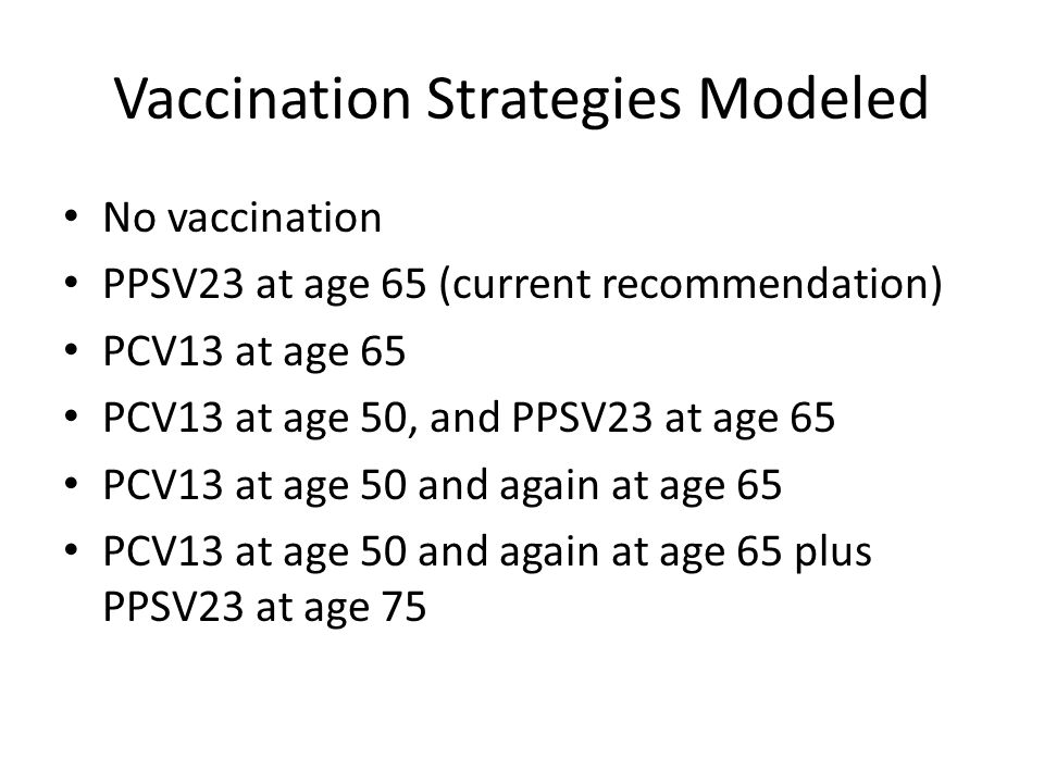 Vaccination Strategies Modeled No vaccination PPSV23 at age 65 (current recommendation) PCV13 at age 65 PCV13 at age 50, and PPSV23 at age 65 PCV13 at