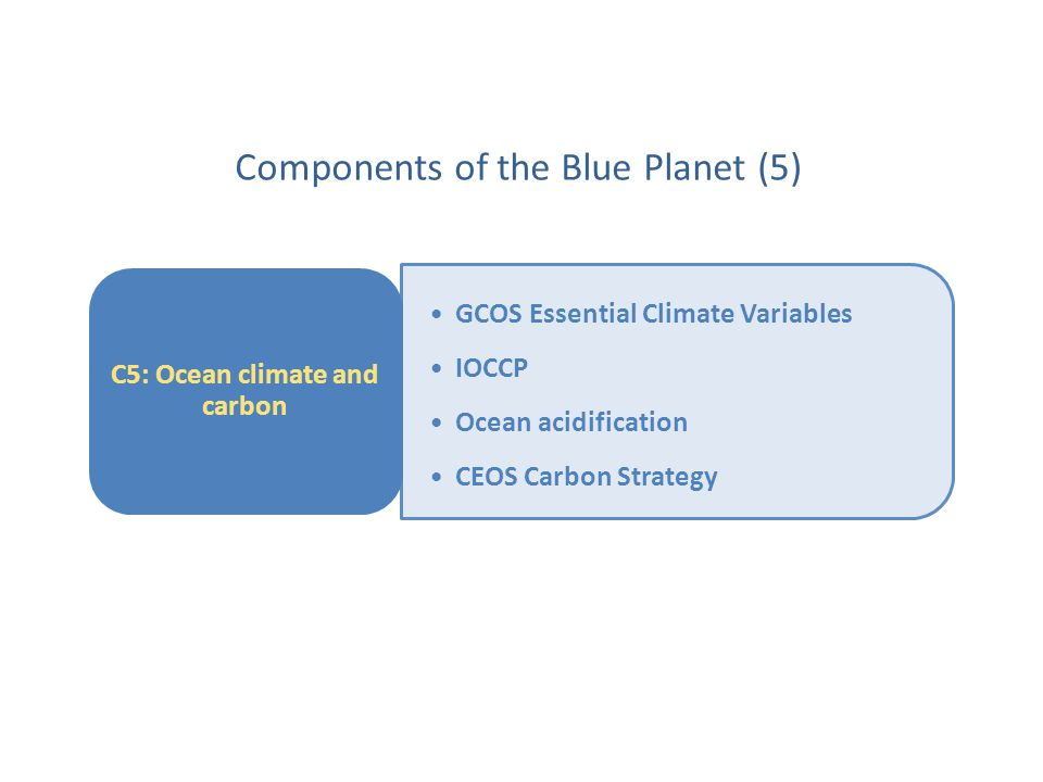 GCOS Essential Climate Variables IOCCP Ocean acidification CEOS Carbon Strategy C5: Ocean climate and carbon Components of the Blue Planet (5)