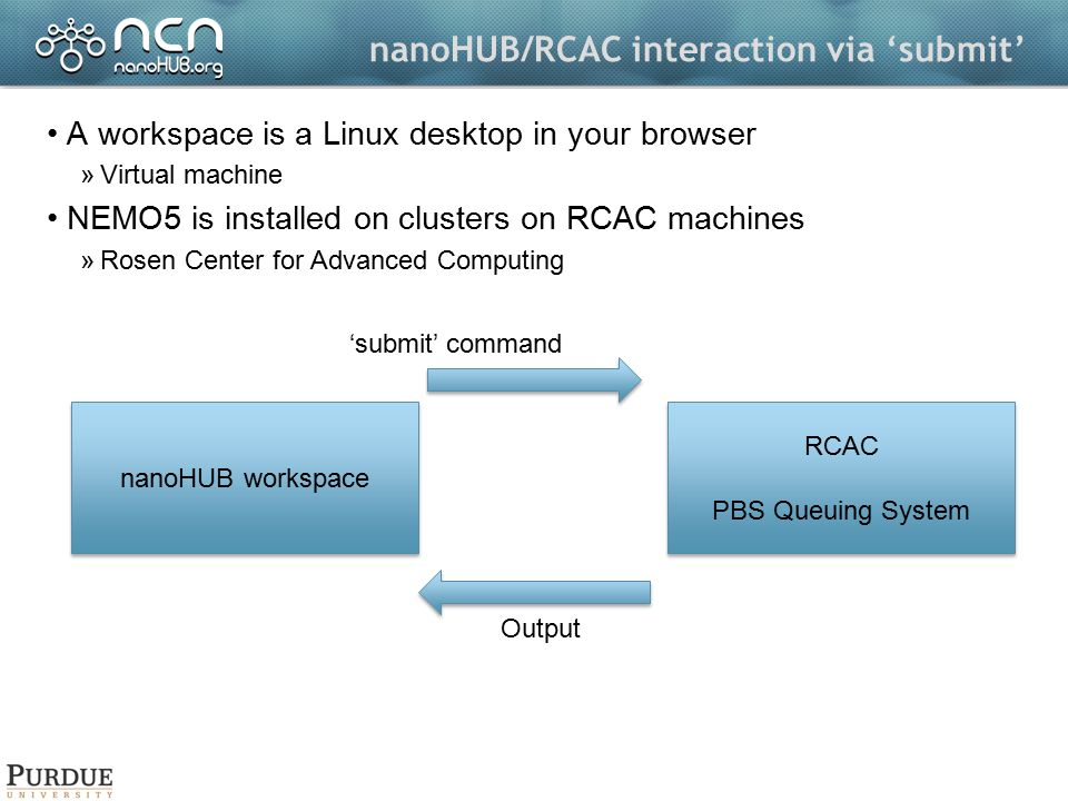 nanoHUB/RCAC interaction via 'submit' A workspace is a Linux desktop in your browser »Virtual machine NEMO5 is installed on clusters on RCAC machines »Rosen Center for Advanced Computing nanoHUB workspace RCAC PBS Queuing System RCAC PBS Queuing System 'submit' command Output