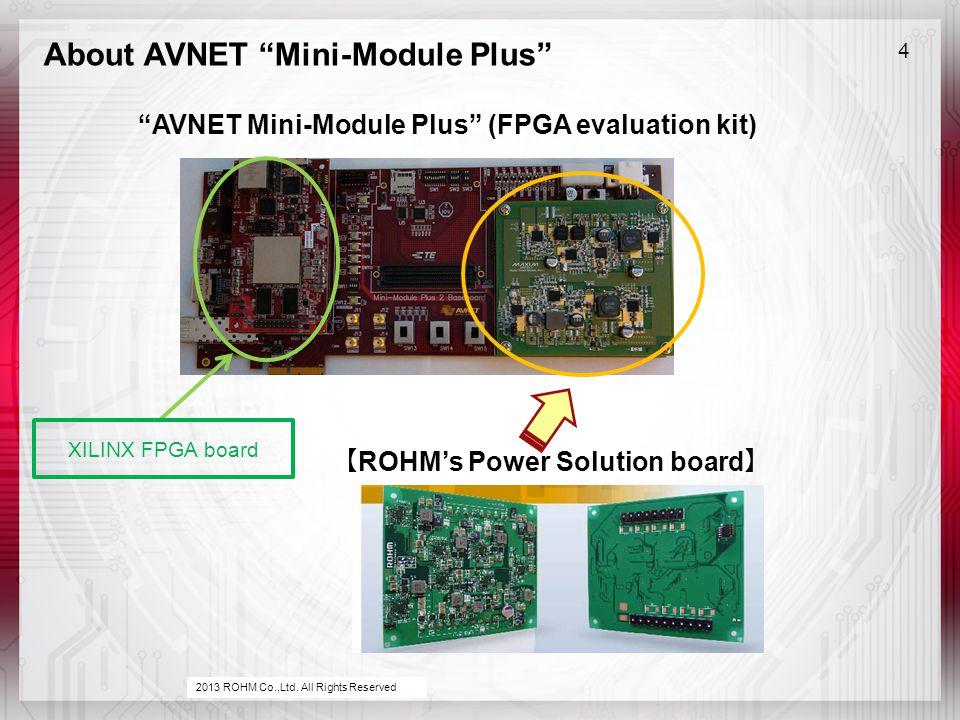 About AVNET Mini-Module Plus 4 AVNET Mini-Module Plus (FPGA evaluation kit) 2013 ROHM Co.,Ltd.
