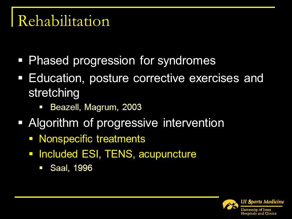 Rehabilitation  Phased progression for syndromes  Education, posture corrective exercises and stretching  Beazell, Magrum, 2003  Algorithm of prog