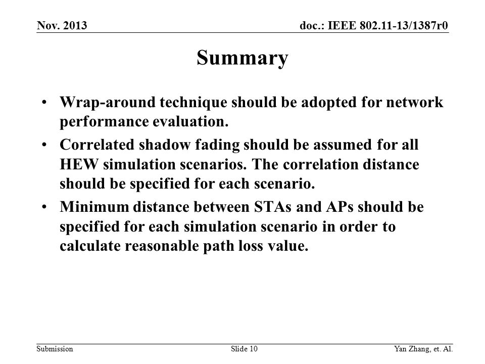 doc.: IEEE /1387r0 Submission Summary Wrap-around technique should be adopted for network performance evaluation.