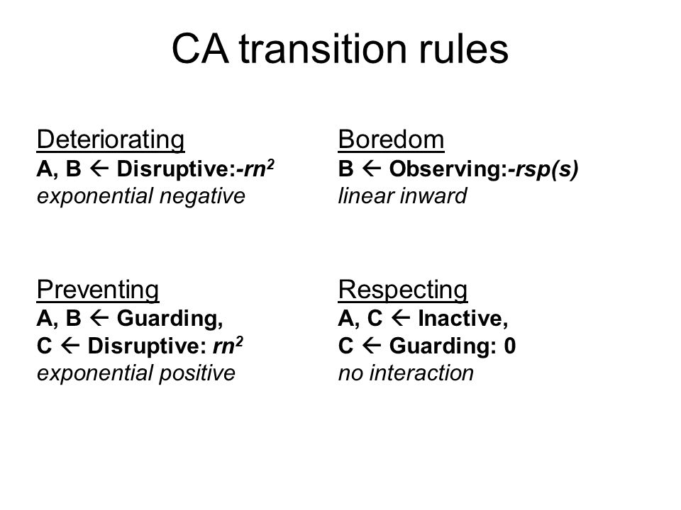 CA transition rules Deteriorating A, B  Disruptive:-rn 2 exponential negative Preventing A, B  Guarding, C  Disruptive: rn 2 exponential positive Boredom B  Observing:-rsp(s) linear inward Respecting A, C  Inactive, C  Guarding: 0 no interaction