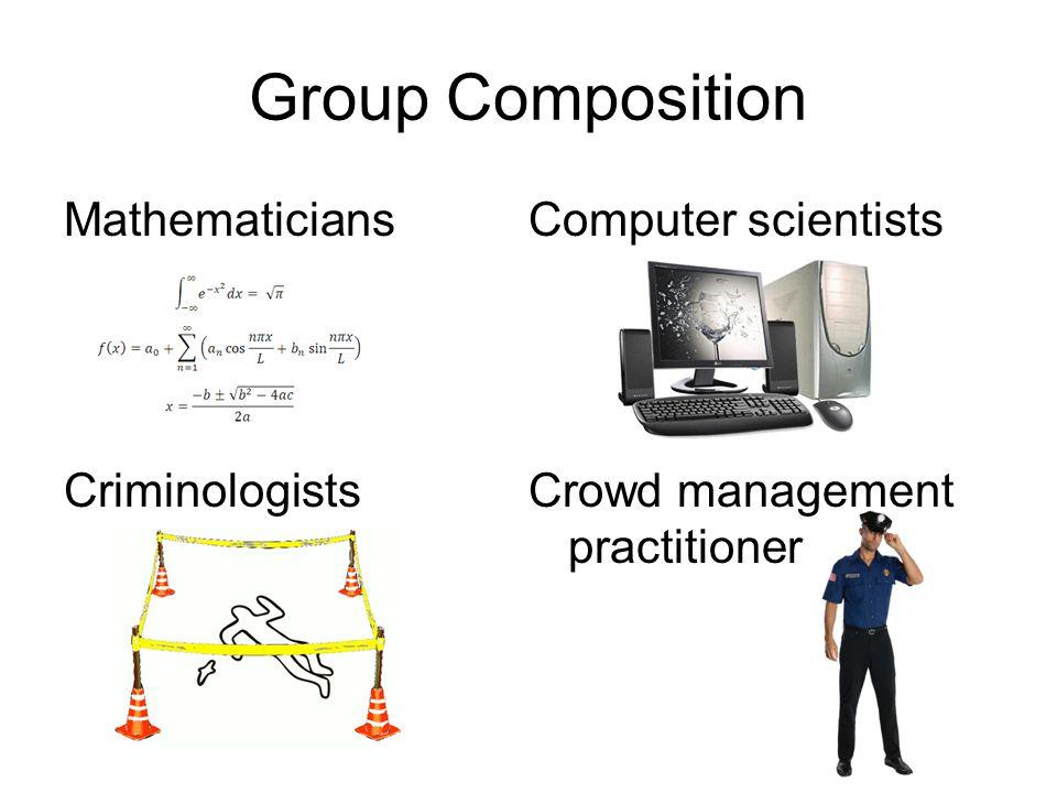 Mathematicians Criminologists Computer scientists Crowd management practitioner Group Composition