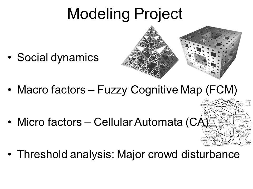 Modeling Project Social dynamics Macro factors – Fuzzy Cognitive Map (FCM) Micro factors – Cellular Automata (CA) Threshold analysis: Major crowd disturbance